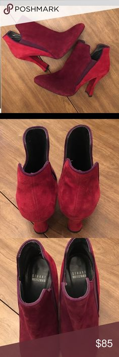 Stuart Weizman burgundy/maroon suede booties  sz 8 These are in new condition- bought and worn around the house but they didn't work for me... my loss is your gain! They are a women's size 8. Please contact with any questions. Stuart Weitzman Shoes Ankle Boots & Booties