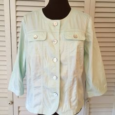 Ruby Rd Jacket/Top  Pale Green.  Buttons up.  Not too heavy.  Excellent condition Ruby Rd Jackets & Coats Jean Jackets