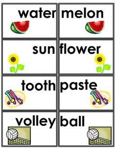 Work on Words Compound Words Memory Game and Learning Center with writing activities.