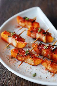 sweet potato {turkey} bacon rolls. sweet potato, milk, water, salt and pepper, {turkey} bacon, olive oil, thyme, and paprika.