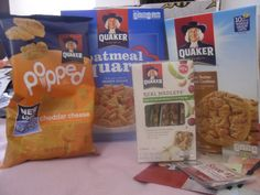 I finally got this,  My Quaker Back to School Snack Basket!!!  I thought for sure I would never see it but post office had it in the back since August.  In it  I found Quaker Oatmeal Squares, Peanut Butter Oatmeal Cookies, Real Medleys fruit& nut bars and Popped rice snacks.
