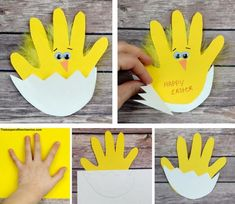 Easter chick handprint card Materials: Yellow and White construction paper or card stock Scissors Wiggle eyes Orange construction paper Glue stick and craft glue Yellow feathers Black pen or… Easter Arts And Crafts, Easter Projects, Daycare Crafts, Bunny Crafts, Easter Crafts For Kids, Crafts To Do, Preschool Crafts, Children Crafts, Easter Crafts For Preschoolers
