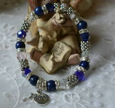 """Hope Angel Bracelet in Shades of Blue Swarovski Crystal, Pave Disco Ball, Lapis Lazuli, Hope Charm and Small Star, Stretches on/off, 7.25"""""""