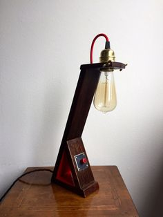 Larch wood Secretary desk lamp old fashioned by MaxCreationsItaly