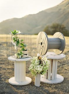 Found Vintage Rentals - love as wedding aisle alter decor.. with a mix of other wood… mix match and with flowers….