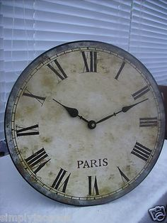 Shabby Vintage Chic French Distressed Style Paris Wall Clock