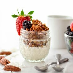 Healthy Homemade Coconut Pecan Granola! Oatmeal is the perfect breakfast recipe. Gluten-free, dairy-free, refined sugar free and vegan!