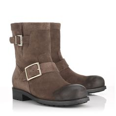 Jimmy Choo - Youth - 132youthdst - Brown Suede Biker Boots with a Waxed Toe