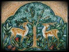 Medieval Bestiary Deer Tile by Mary Philpott