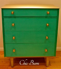 Mid Century Modern Chest Of Drawers Makeover In Annie Sloan Florence and Linen by Chic Barn Hand Painted Furniture - Featured On Furniture F...