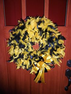 Steelers wreath I made using feather boas. Simple and unique!