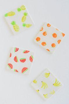 DIY Watercolour Fruit Coasters