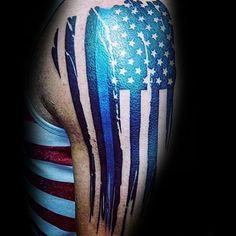 American Flag With Thin Blue Line Guys Manly Arm Tattoos - Tattoo, Tattoo ideas, Tattoo shops, Tattoo actor, Tattoo art Patriotische Tattoos, Body Art Tattoos, Tatoos, Tattoo Drawings, Skull Tattoos, Forearm Tattoos, Tattoo Art, Half Sleeve Tattoos Designs, Tattoo Designs Men