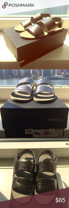 Vince Sorce silver sandals Silver Vince Sorce sandals with Velcro strap detail. Comes with original box and dust bag. Worn once. Color is Pewter. Size 7. Vince Shoes Sandals