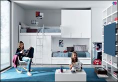 Excellent Shared Teen Bedroom Inspiration In Deluxe Style With Great Custom  Bunk Bed Includes Two Beds