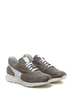 CESARE P. - Sneakers - Uomo - Sneaker in pelle vintage e pelle lavorata con suola in gomma light, tacco 35, platform 25 con battuta 10. - TAUPE\WHITE - € 245.00
