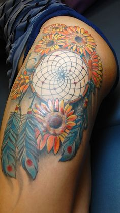 Colorful dream catcher Tattoos for Women | Tattoos By Joseph Haefs: Dream Catcher Tattoo by Joseph Haefs