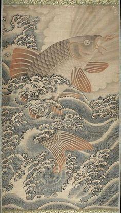 Carp /Chinese, Ming dynasty, 17th century  鯉図 絵師不明 17世紀  http://yajifun.tumblr.com/post/39210756083/carp-chinese-ming-dynasty-17th-century