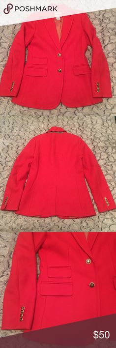 """Red blazer 100% wool / very warm and heavy for winter / excellent condition no exterior flaws / red / size  6 / Jcrew / it has a hole in the inside lining and also it says """"sample"""" in marker on the top neck label and on the inside but on the outside the blazer is FLAWLESS. It is basically brand new / has a nice military look/ looks very cute w jeans and loafers with a striped shirt J. Crew Jackets & Coats Blazers"""