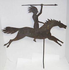 folk art weather vanes   Details about Antique Folk Art Steel Indian on Horse Weathervane