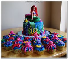 Little mermaid party- put half of the mix in the small cake pan to reduce the number of cupcakes for a small party