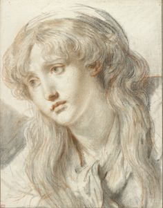 Jean-Baptiste Greuze (1725-1805), Head of a Sorrowful Woman, Black and wetted red chalk, with stumping and gray wash,