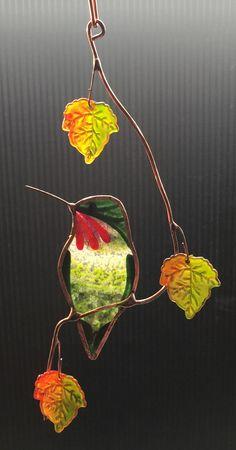 Hummingbird with maple fall coloured Leaves by BirdsAndBugs1