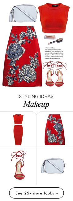 """""""red and blue pattern outfit"""" by jessiediy on Polyvore featuring Bill Blass, Tory Burch and Steve Madden"""