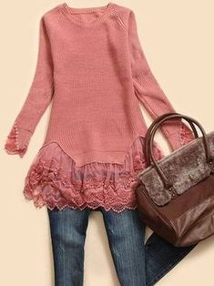 Lace Outfit, Denim Outfit, Moda Outfits, New Outfits, Clothing And Textile, Diy Clothing, Diy Fashion, Fashion Outfits, Recycled Sweaters