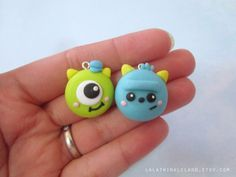 Cute Monsters Set Polymer Clay Charm by LalaTwinkleLand on Etsy. There's nothing better than kawaii Disney charms! Polymer Clay Kunst, Polymer Clay Miniatures, Fimo Clay, Polymer Clay Projects, Polymer Clay Charms, Polymer Clay Creations, Polymer Clay Jewelry, Clay Crafts, Fimo Kawaii
