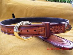 Hand tooled leather belt with Chicago screws by AcrossLeather, $180.00