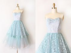 SALE // vintage 1950s dress // 50s blue lace strapless evening prom dress by TrunkofDresses on Etsy