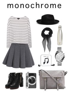 """""""my outfit :)"""" by yrin ❤ liked on Polyvore featuring MANGO, S'well, CHRISTY'S, Happy Plugs, Michael Kors, Givenchy, Casetify and monochrome"""