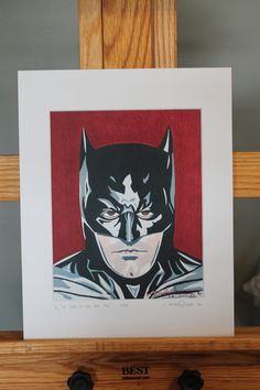 "11""x14"" Limited Edition Hand Signed Ben Affleck Batman MATTED PRINT by JMatthewWelker.  Only 333 ""In The Year Of Our Bat 2016"" prints exist. Each print is hand signed and numbered by the artist.  Mat measures 11""x14"". Print measures 8""x10"". Mounted on 3/16"" foam core board.      Ready to pop right into an 11""x14"" frame! Batman Pop Art, Superhero Pop Art, Batman Painting, Ben Affleck Batman, Black And White Face, Ready To Pop, Core, Comic Books, Hands"