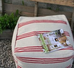 DIY Floor pouf made from rugs