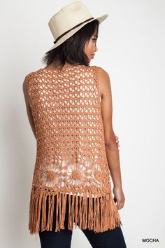 sleeveless crochet fringed vest | Bohemian Clothing | The Urban Hippie