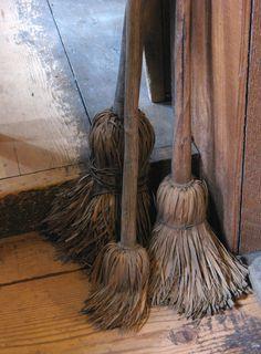 DIY old styled raffia brooms.