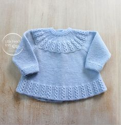 Blue Baby Jacket Instructions in English PDF par LittleFrenchKnits Ravelry: 26 / Blue Baby Jacket pattern by Florence Merlin Knitting Pattern Baby Wool Cardigan Instructions in English PDF Size Newborn to 3 months Eyelet cables on yoke and hem ~~ Little F Baby Knitting Patterns, Love Knitting, Baby Cardigan Knitting Pattern, Baby Patterns, Knitting Needles, Vintage Knitting, Cardigan Bebe, Wool Cardigan, Knit Baby Dress