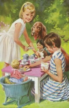 girls and their dolls and dog having a tea party, Ladybird