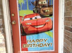 Door poster taped on purchased at Wal-mart.