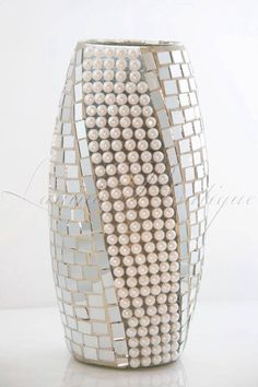 Silver  MIRROR MOSAIC GLASS VASE  Handmade  with White Pearls 30cm