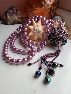 Plata púrpura y cristal largo línea por CherylsJewellery en Etsy