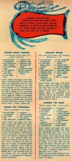 Danish Spice Cookies, English Rock Cookies, Raisin Nut Pinwheels, Dundee Tea Bars