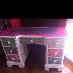Decoupaged old desk