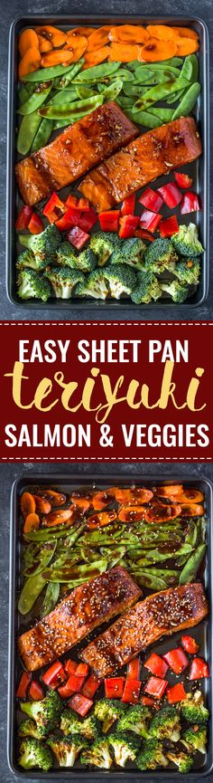 Sheet Pan Teriyaki Salmon & Veggies Salmon, broccoli, snow peas, carrots and bell peppers coated with teriyaki sauce and oven roasted to perfection. This quick and easy sheet pan dinner comes easily and makes a healthy low-carb dinner or meal prep Salmon Recipes, Fish Recipes, Seafood Recipes, Cooking Recipes, Healthy Recipes, Seafood Dishes, Healthy Foods, Paleo Dinner, Dinner Recipes