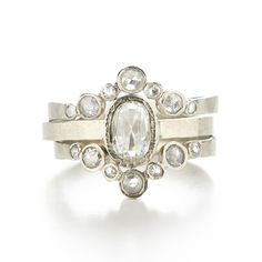 Hewn Ring Stack with 6x4 White Diamond and 7 Dot White Jackets, Dawes Design