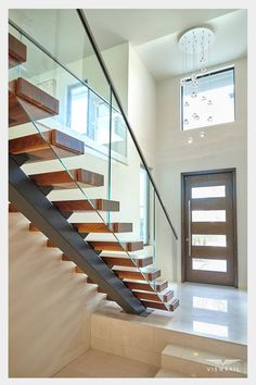 Home Stairs Design, Home Room Design, Dream Home Design, House Design, Modern Staircase Railing, Modern Stairs, Staircases, Railings, Modern Rustic Homes