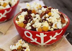 popcorn trail mix with seeds, nuts, and dried fruit for an after school snack