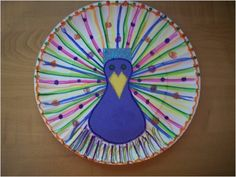 Paper plate peacock:  use yarn and sequence instead of marker