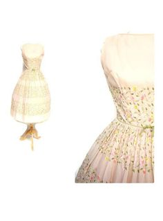 SOFT PINK LAIGLON 1950s Cotton Embroidered Day Dress full